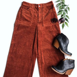 NWT Forever 21 High Rise Wide Leg Corduroy Pants